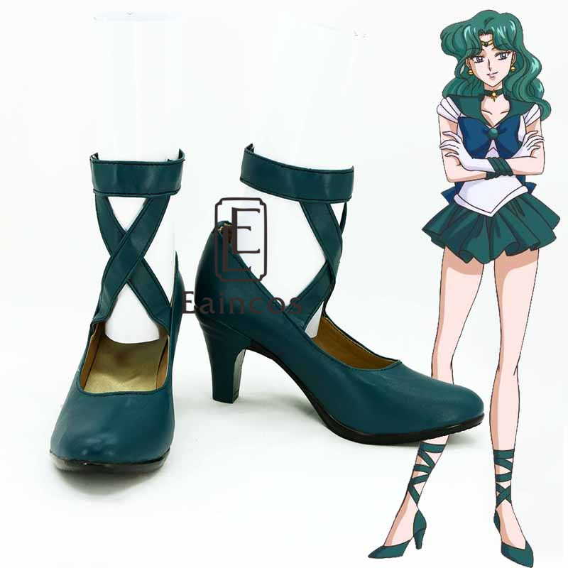 Anime Salior Moon Sailor Neptune Cosplay Party Dark Green Shoes Custom-made