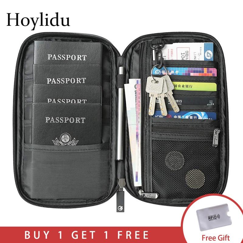RFID Travel Passport Wallet Multi-Function Waterproof Family Passport Holder Trip Document Organizer Credit Card Package Purse