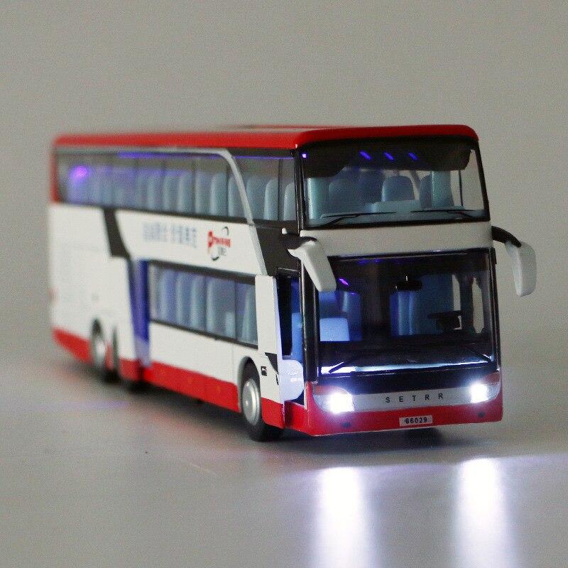 Électrique Alliage Échelle Modèles De Voiture moulé sous pression Voiture de Tourisme Jouets pour Enfants mkd2 1:32 auto Véhicule Double Decker D'affaires bus