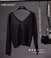 Cakucool New Women Sequined Sweaters Thin Black Long Sleeve V neck Jumper Backless Sexy Bling Party Knit Pullover Sweater Lady
