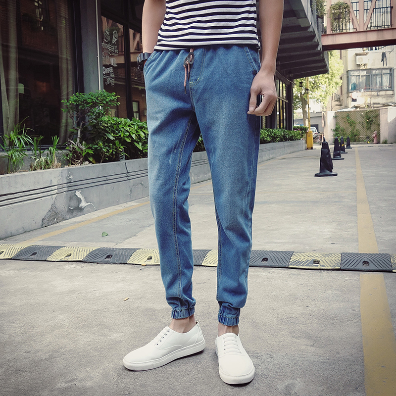 Men Solid Pencil Jeans Homme Harem Pants 2017 New Hip-Hop Washed Pants Fashion Youth Teenagers Trend Casual Jeans 2017 brand new men fashion slim fit jeans casual close fitting pants youth hip hop light elasticity pants