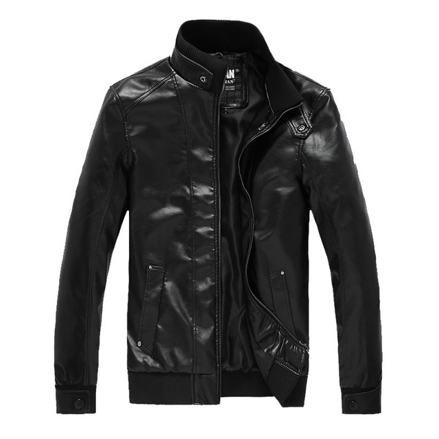 Simple Slim Good Quality Jaqueta Couro Masculina Stand Collar Black Brown Colors Veste En Cuir Homme