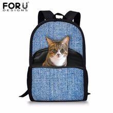 FORUDESIGNS Schoolbags For Teenagers Cute 3D Denim Cats Printing Bookbag Girls Satchel Newest Pocket Animal School Bags Backpack