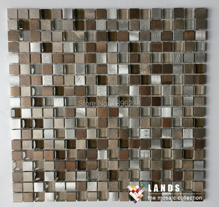 Фото 2017 NEW! Aluminum metal Crystal Glass Mosaic Tiles wallpaper,TV Kitchen backsplash Wall home Design Sticker wholesale,LSAL1505