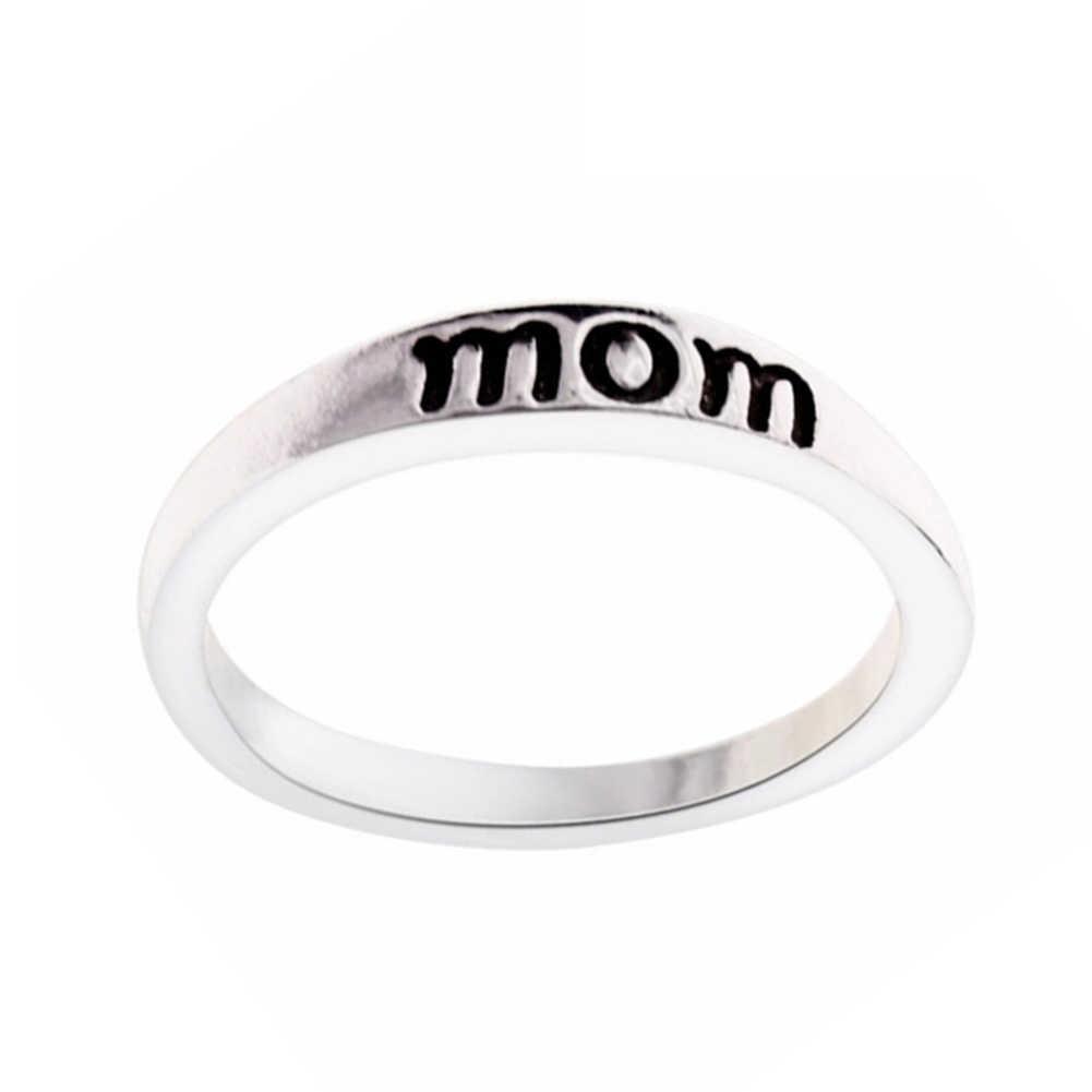 Кольцо с буквами для мамы, ювелирные аксессуары, сплав, серебро, день рождения, фестиваль, подарок, простое ювелирное изделие, кольца для женщин, подарок на день матери
