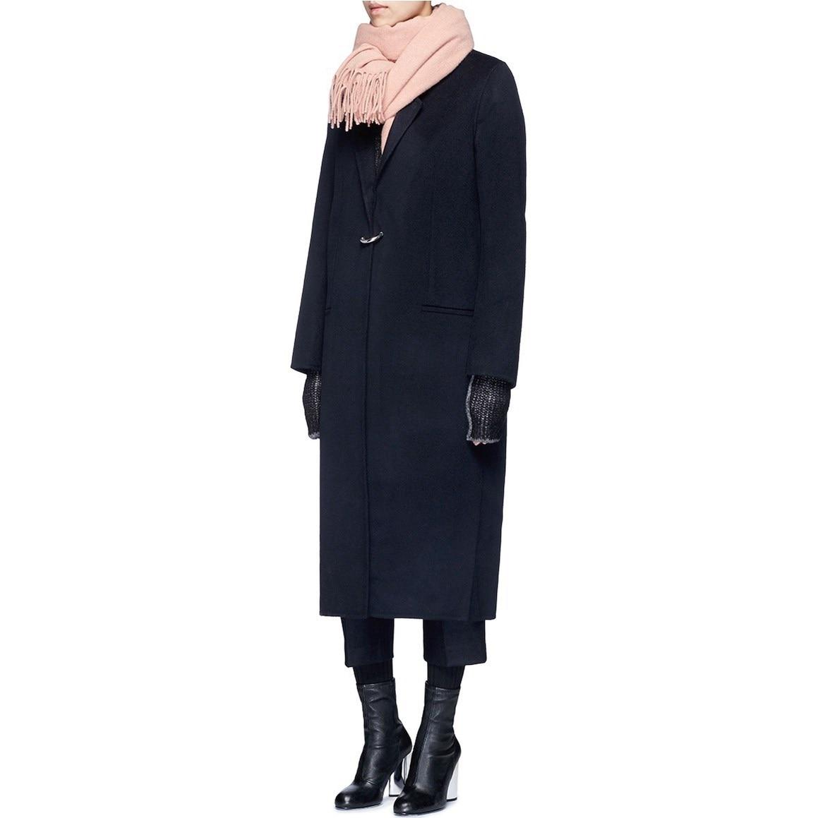 2018 New Autumn Winter Women Long Woolen Coat Fashion Dark Button Plus Size Coat Female Navy Blue Woolen Outerwear