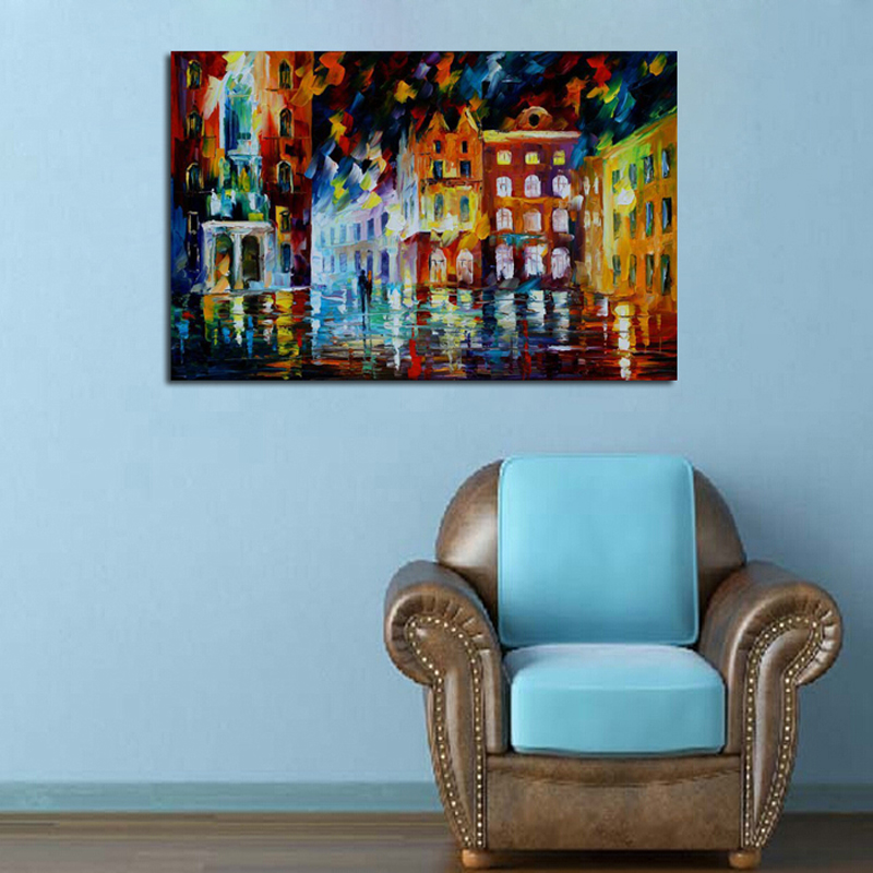 55 Free-shipping-Abstract-Golden-City-Houses-Knife-Oil-Painting-On-Canvas-City-Night-Scenery-Picture-Wall (2)