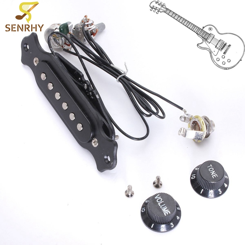 Black Copper Single Magnetic Coil Acoustic Guitar Pickup With Volume Tone Control Guitar Parts Accessories vintage voice single coil pickups fits for stratocaster ceramic bobbin alnico single coil guitar pickup staggered pole top