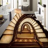 Free Shipping 3D stereo custom flooring creative rotation stairs living room bedroom floor stickers wallpaper mural