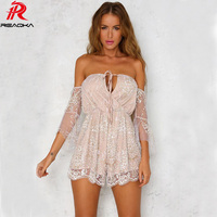 Reaqka Sexy Gold Halter elegant Sequins playsuit summer romper Backless bodycon Strapless mesh short jumpsuit for women 2017 New