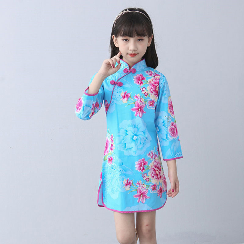 Купить с кэшбэком Children Cheongsam Chinese Style Girl Costume Chinese Traditional Dress Oriental Cheongsam Long Sleeve 2018 New Girls Clothes