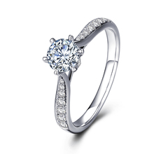 0.15Carat Round Cut Natural Real Diamond Engagement Ring Solitaire with Accents 14K White Gold