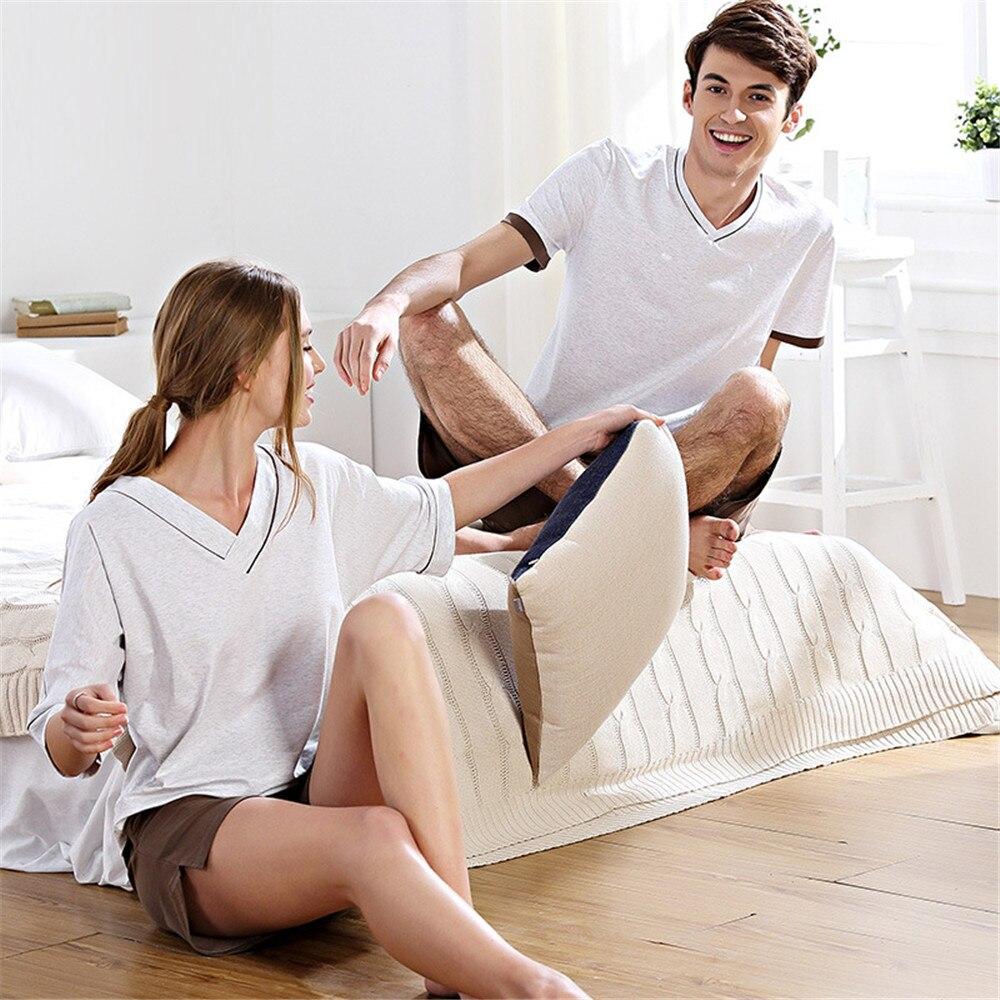 QIANXIU Brand Pajama Set For Couple Knitted Cotton Homewear Casual Pajamas For Men Pyjamas Women Onesie Pijama Shorts 2019 New