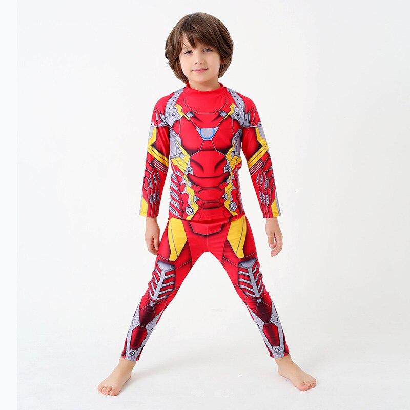 vendita calda ragazzi costume da bagno iron man due pezzi con manica lunga estate dei bambini