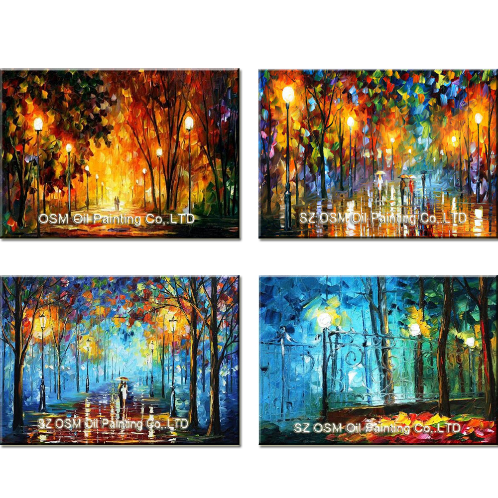 100% Hand Painted Knife Landscape Oil Painting Hang Paintings Modern Street View Picture For Room Decor Pictures Canvas Painting