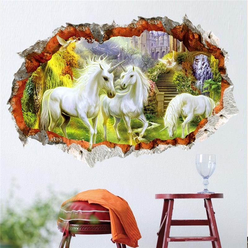 3d әсері unicorn бейнелер қабырғаға - Үйдің декоры - фото 4