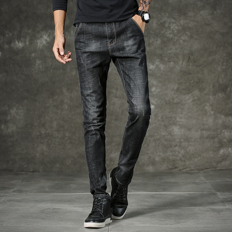 2018 new men stretch feet of cultivate ones morality pants fashionable black cowboy pants