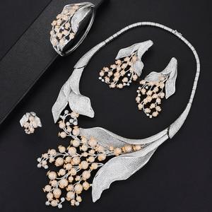 Image 1 - GODKI Luxury MAXI SIZE GRAPE 4PCS Nigerian Jewelry Set For Women Wedding Zircon Indian African Bridal Jewelry Set 2018