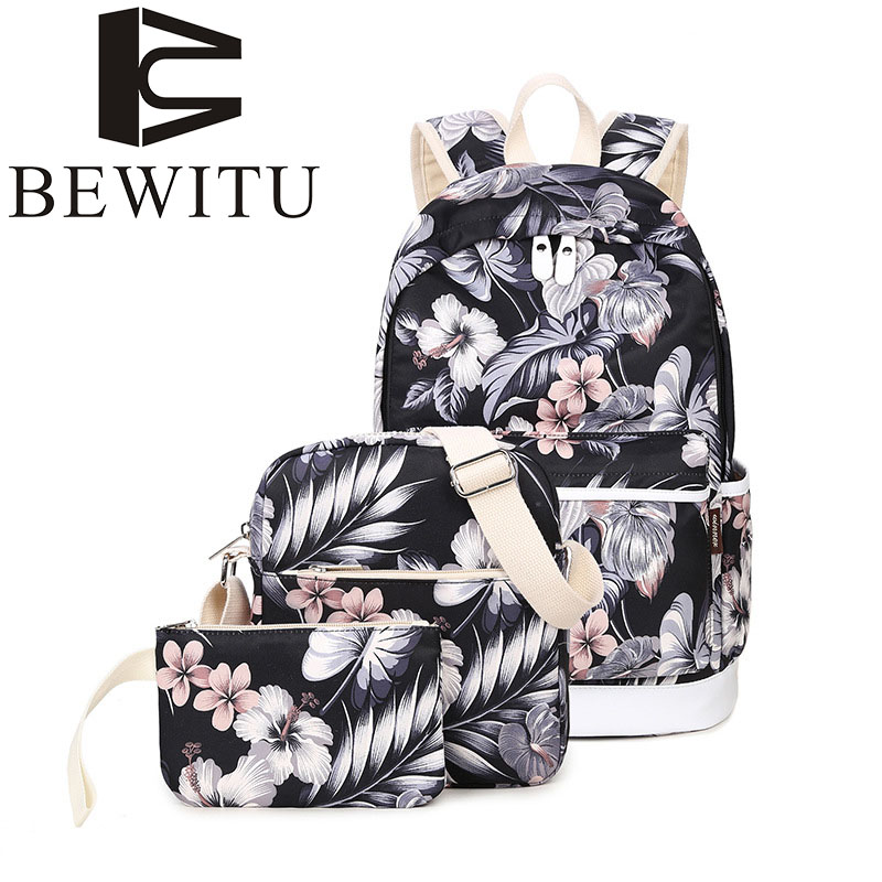 BEWITU Korean version of the canvas backpack printing leisure fashion bag student flowers small fresh computer