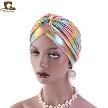 Colorful New Women Laser Silky Ruffle Metallic Turban Hair Cover Accessories Wave Caps Bonnet Salon Hat Turban Headwrap