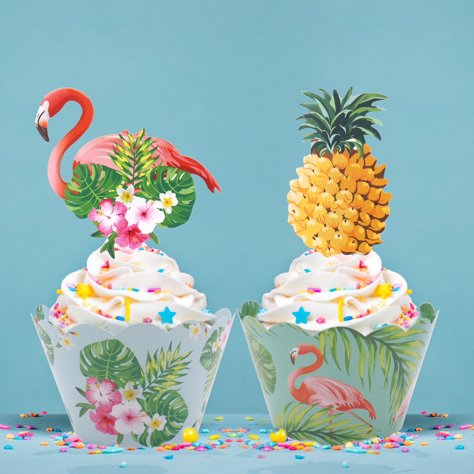 24pcs/st Tropic Flamingo / Pineapple Cupcake Wrappers + Cake Topper for Hawaii Wedding Birthday Party Cake Decorating Supplies toy story bunny toys
