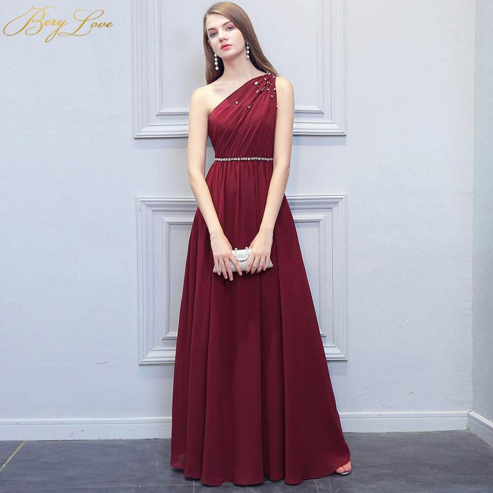 BeryLove Simple Burgundy Evening Dress 2019 Long Beaded