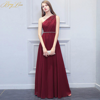 BeryLove Simple Burgundy Evening Dress 2019 Long Beaded One Shoulder Occasion Floor Length Crystal Dress Prom Lady Party Gown