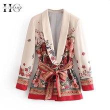 HEE GRAND/Элегантный Приталенный Блейзер с принтом и поясом, OL, повседневный Женский приталенный пиджак средней длины, верхняя одежда с поясом WWX474