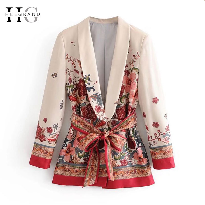 HEE GRAND Elegant Print Sashes Waist OL Blazer 2018 Casual Woman Slim Fit Mid Length Suit Jacket Coat Outwear With Belt WWX474