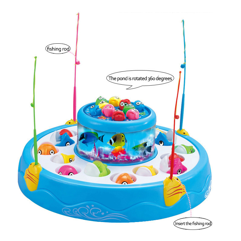 Music Glowing Plastic Magnetic Fishing Toy Set For Kids Children Fish Model Play Fishing Rod Games Outdoor Boy Toys