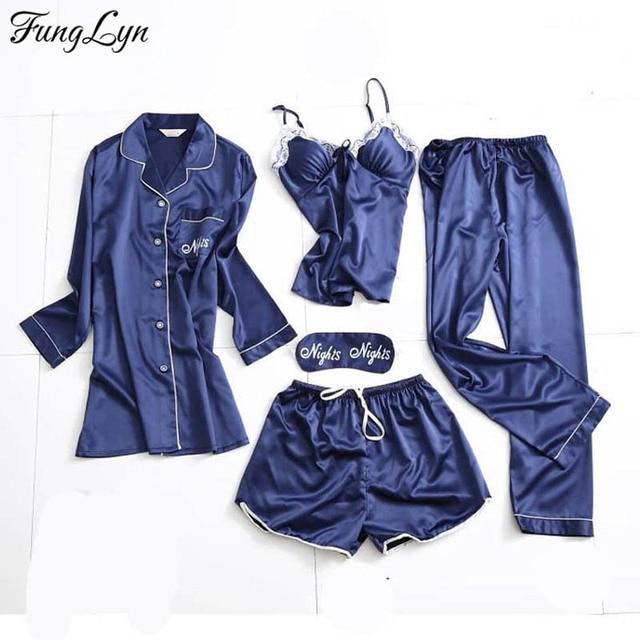 2ea3897b26d0 FLD147 Silk 5 Piece Pijamas Mujer Night Suit Sleepwear Pyjamas Women ...