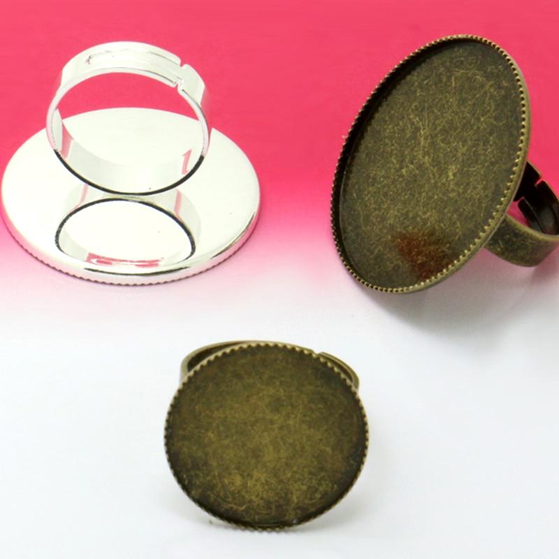 10 Stücke 20mm 25mm 30mm Zähne Rand Ring Einstellung Basis Blank Schmuck Ergebnisse Fach Für Stein Cabochons Rhodium Silber Gold Überzogene