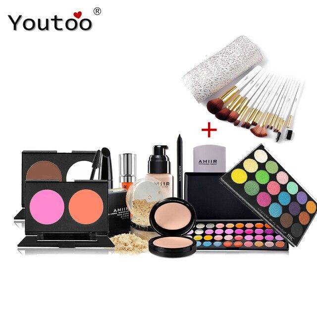 AMIIR 12 Pcs/set Professional Makeup Sets  Makeup Brushes Eyeshadow Palette Blush Lipstick Brow Pen Concealer Mascara Lip Gloss