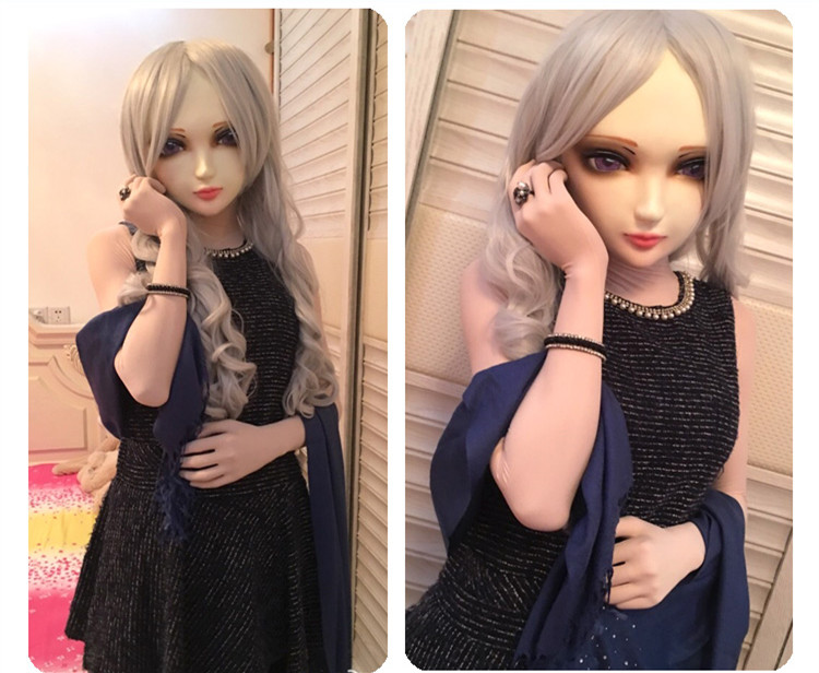 female Sweet Girl Resin Half Head Kigurumi Mask With Bjd Eyes Cosplay Japanese Anime Role Lolita Mask Crossdress Doll Quality First zi-02 Helpful