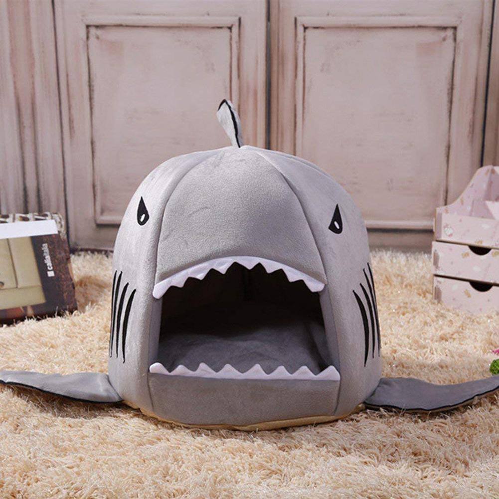 Hot 1Pc Autumn Winter Shark Shape Pet Dog Cat Puppy Bed Warm Cushion Soft Kennel Nest