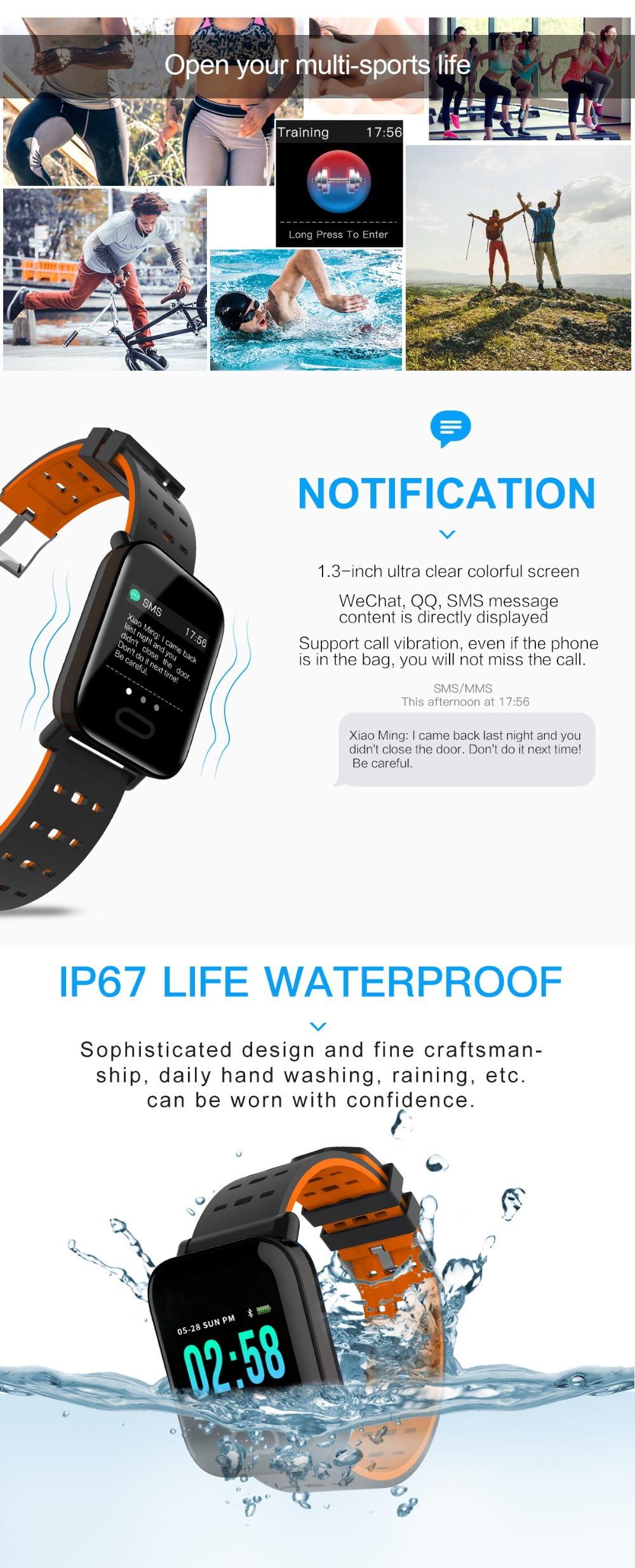 Letike A6 fitness tracker Bluetooth Smart Watch blood pressure monitor Sport Smart Wrist Watch smart bracelet for Android iOS 4