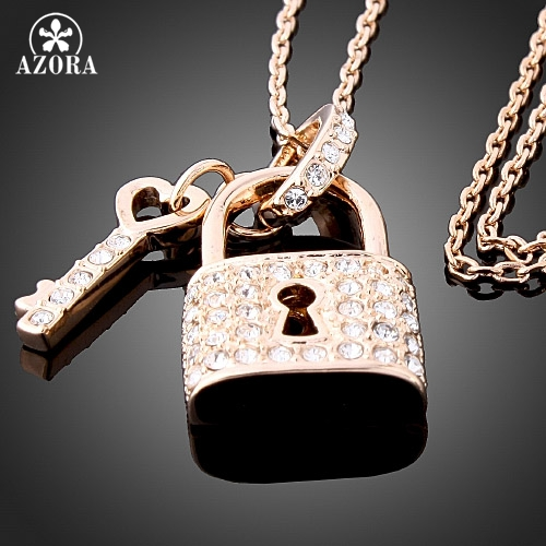 AZORA Rose Gold Color Key and Lock Pendant Crystal Necklace,Wholesale Fashion Jewelry Necklace TN0155