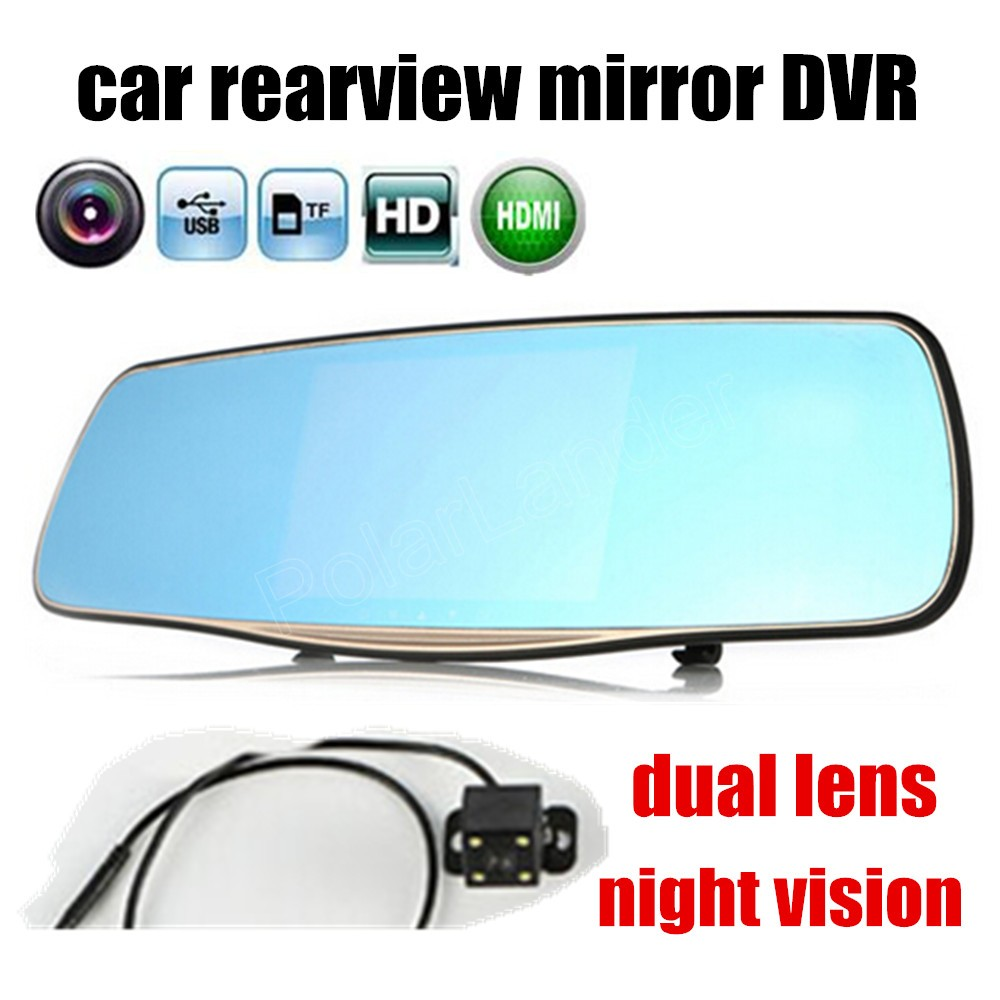 DVR Camera Dash-Cam 5inch-Camcorder Car-Rearview-Mirror Dual-Lens Parking-Backup Car-Styling
