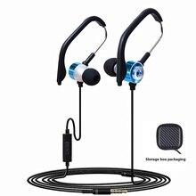 """GDLYL מוסיקה אוזניות Wired Sprot באוזן אוזניות עם מיקרופון 3.5 מ""""מ אוזניות כבל מתכת קול בס כבד אוזניות"""