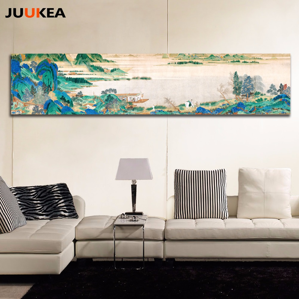 Huge size canvas print painting art large size chinese ink claborate style painting wall