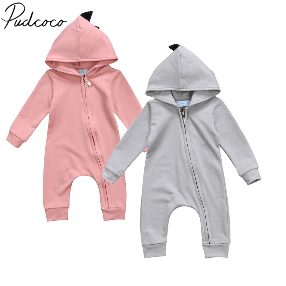 2018 Brand New 0-24M Toddler Infant Newborn Baby Boys Girls Dinosaur Hooded Romper Long Sleeve Playsuit Outfit Cute Clothes hhtu 2017 infant romper baby boys girls jumpsuit newborn clothing hooded toddler baby clothes cute elk romper baby costumes