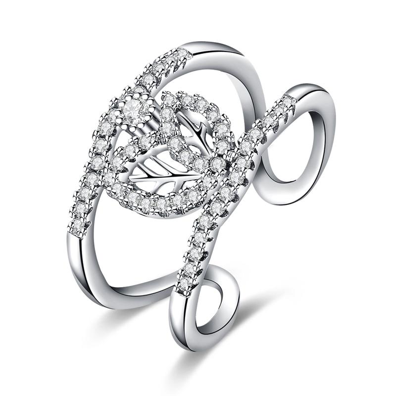 e215eff3789b JEXXI romántico boda hueco dedo accesorios con encanto hojas diseño cúbico  Zirconia anillo de cristal para las mujeres Bijoux Anillon