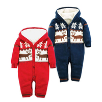 Baby Rompers Winter Thick Warm Newborn Girls Jumpsuits Toddler Boys One Piece Overalls Hooded Long Sleeve Playsuit Child Clothes