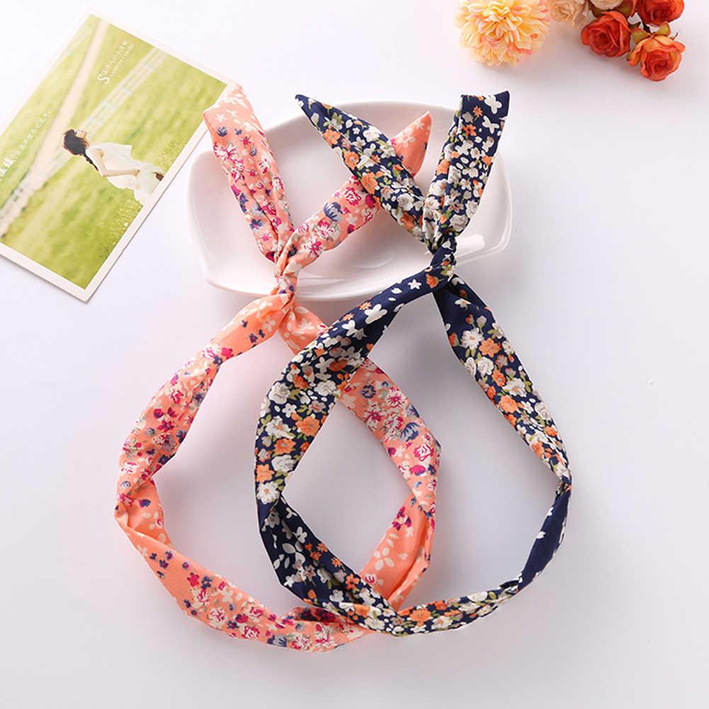 Nuevo lindo manchas de leopardo labio impresión flor oreja conejo gracioso cinta para sombreros diadema de alambre de Metal bufanda accesorios para el cabello