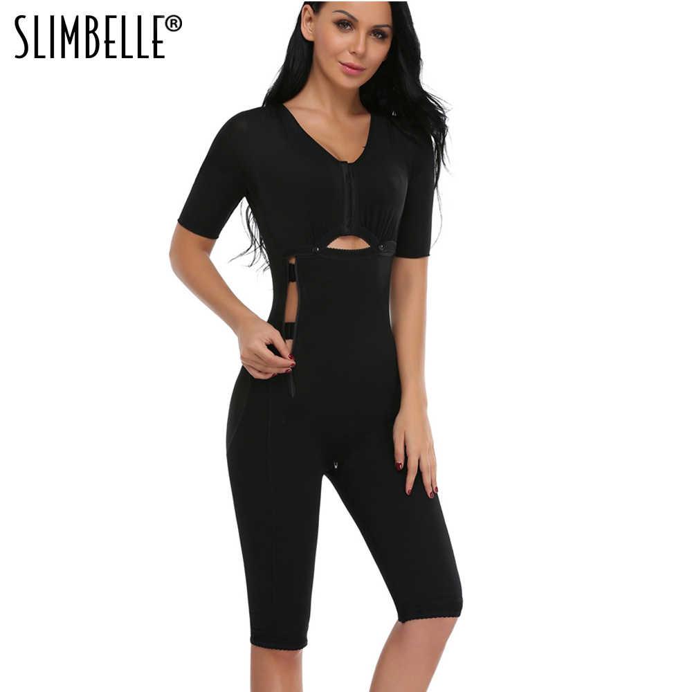71e2910c0297f Women Full Body Shaper Waist Trainer Corset Black Bodysuits Slimming Zip  Hooks Shapewear Tummy Control Slim