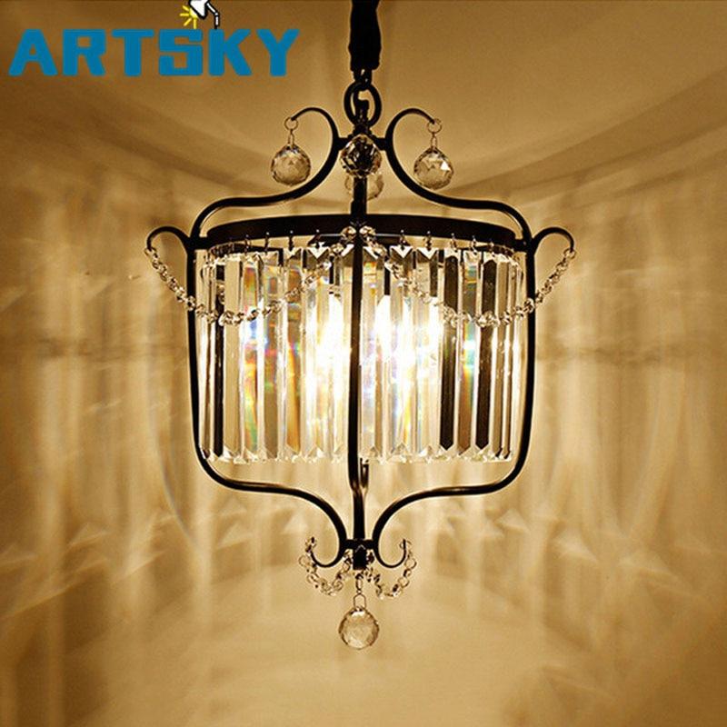 American Black Crystal Pendant Lights For Kitchen Dining Room Cabinet Vintage Hanging Lamp