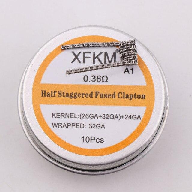NEW XFKM 10pcs Prebuilt Coil Half Staggered Fused Clapton Coil 0.27ohm 32GA Heating Wire for RDA RBA DIY Atomizer 1