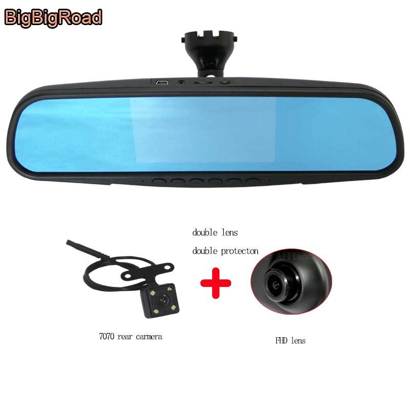 BigBigRoad Car Mirror DVR Camera Dash Cam For audi A4L 2009 Blue Screen Dual Lens Video Recorder with Original Bracket
