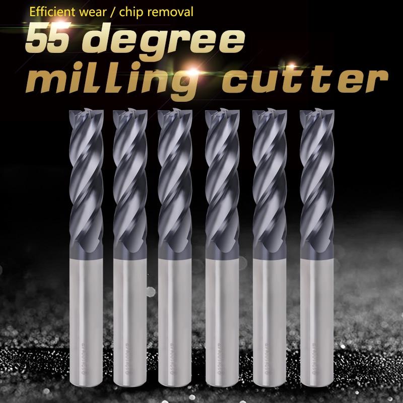 ZGT 1PCS Cnc Fraise Endmill HRC55 4 Flute Carbide End Mill Metal Cutter 1mm 2mm 3mm 4mm 5mm 6mm Tungsten Steel Milling Cutter