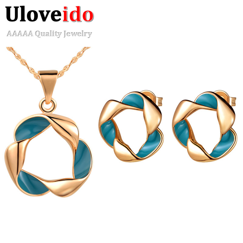 Uloveido Fashion Jewelry Sets Enamels Collier Necklace Pendant Earrings Choker Suspension Joias CZ Diamond Jewellery Bijoux T258